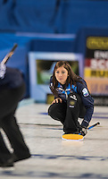 Glasgow. SCOTLAND.  Scotland Skip, Eve MUIRHEAD,  during  the &quot;Round Robin&quot; Game.  Scotland vs Russia,  Le Gruy&egrave;re European Curling Championships. 2016 Venue, Braehead  Scotland<br /> Thursday  24/11/2016<br /> <br /> [Mandatory Credit; Peter Spurrier/Intersport-images]