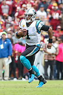 Landover, MD - October 14, 2018: Carolina Panthers quarterback Cam Newton (1) runs the ball during the  game between Carolina Panthers and Washington Redskins at FedEx Field in Landover, MD.   (Photo by Elliott Brown/Media Images International)