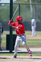 Cincinnati Reds shortstop Jeter Downs (3) at bat during an Instructional League game against the Oakland Athletics on September 29, 2017 at Lew Wolff Training Complex in Mesa, Arizona. (Zachary Lucy/Four Seam Images)