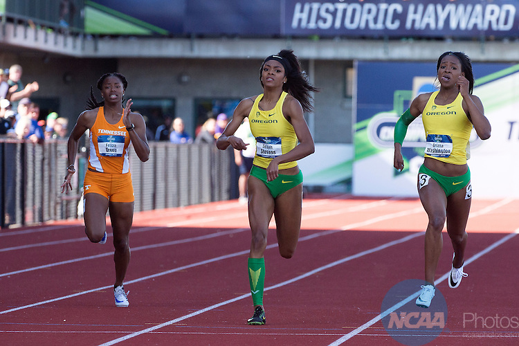 11 JUNE 2016:  Ariana Washington and Deajah Stevens of the University of Oregon finish first and second respectively in the 200 meter dash during the Division I Women's Outdoor Track & Field Championship is held at Hayward Field in Eugene, OR.  Jamie Schwaberow/NCAA Photos