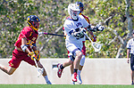 Los Angeles, CA 04/01/16 - Owen Han (USC #25) and Owen McNiff (Loyola Marymount #13) in action during the University of Southern California and Loyola Marymount University SLC conference game  USC defeated LMU.