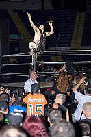 WWE superstar Aiden English sings to a booing crowd as he enters the ring for a match during a WWE Live Summerslam Heatwave Tour event at the MassMutual Center in Springfield, Massachusetts, USA, on Mon., Aug. 14, 2017.