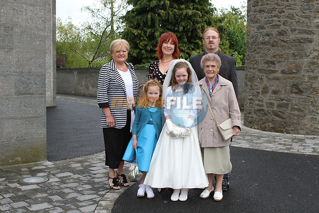 Eve Smith with her family at Slane NS Communion...(Photo credit should read Jenny Matthews www.newsfile.ie)....This Picture has been sent you under the conditions enclosed by:.Newsfile Ltd..The Studio,.Millmount Abbey,.Drogheda,.Co Meath..Ireland..Tel: +353(0)41-9871240.Fax: +353(0)41-9871260.GSM: +353(0)86-2500958.email: pictures@newsfile.ie.www.newsfile.ie.