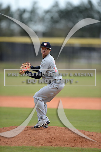 Kameron Reynolds (21) of Cherryville, North Carolina participates in the Baseball Factory All-America Pre-Season Rookie Tournament, powered by Under Armour, at Lake Myrtle Sports Complex on January 19, 2014 in Auburndale, Florida.  (Copyright Mike Janes Photography)