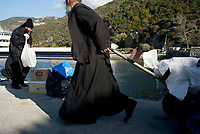 Mount Athos - The Holy Mountain.<br /> Monks take deliveries to and from monasteries from the main port of Mount Athos called Dafne.