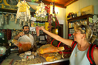 Norcia, Umbria, Italy, June 2006. Norcia a small town and the famous home of the Norcineria: producers of dried and smoked meat products like sausages, salami, and prociutto hams. one can also find good olive oil, huge truffles and various sheeps cheese.  Photo By Frits Meyst/Adventure4ever.com