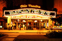 movie palace, theatre, Columbus, OH, Ohio, Ohio Theater illuminated at night with neon lights.