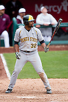 Micah Green #32 of the Wichita State Shockers at bat during a game against the Missouri State Bears at Hammons Field on May 5, 2013 in Springfield, Missouri. (David Welker/Four Seam Images)