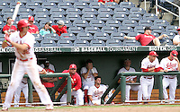 The Indiana dugout shows their frustrations during the eighth inning of the Hoosiers' 5-3 loss to Maryland in the opening game of the Big Ten Tournament at TD Ameritrade Park in Omaha, Neb. on May 25, 2016. (Photo by Michelle Bishop)