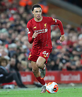 24th February 2020; Anfield, Liverpool, Merseyside, England; English Premier League Football, Liverpool versus West Ham United; Trent Alexander-Arnold of Liverpool sprints forward with the ball at his feet