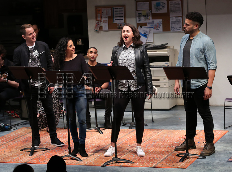 """Cast of """"Borders"""" during the 2018 Presentation of New Works by the DGF Fellows on October 15, 2018 at the Playwrights Horizons Theatre in New York City."""