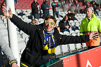 ASM Clermont Auvergne fans enjoying the atmosphere during the Heineken Cup Round 5 match between Harlequins and ASM Clermont Auvergne at the Twickenham Stoop on Saturday 11th January 2014 (Photo by Rob Munro)
