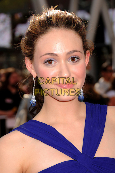"""EMMY ROSSUM .""""Speed Racer"""" Los Angeles Premiere at the Nokia Theatre, Los Angeles, California, USA, 26 April 2008..portrait headshot blue earrings eyeshadow.CAP/ADM/BP.©Byron Purvis/Admedia/Capital PIctures"""