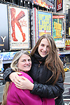 Bonnie Comley and Leah Lane attend Big Hug Day: Broadway comes together to spread kindness and raise funds for Children's Hospitals on January 21, 2018 at Duffy Square, Times Square in New York City.