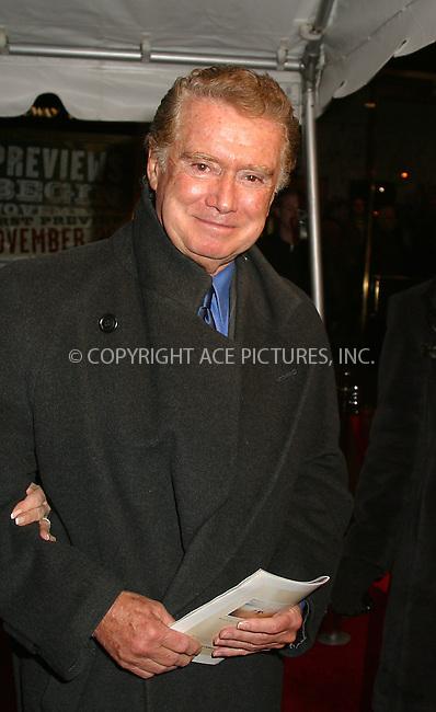 "Regis Philbin at the opening of ""La Boheme"" on Broadway. New York, December 8, 2002. Please byline: Alecsey Boldeskul/NY Photo Press.   ..*PAY-PER-USE*      ....NY Photo Press:  ..phone (646) 267-6913;   ..e-mail: info@nyphotopress.com"