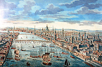 London: A general view of the City of London in 1770. The monument is exaggerated.  Reference only.