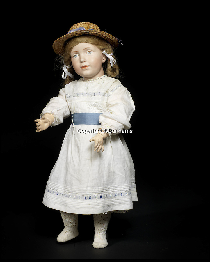 BNPS.co.uk (01202 558833)<br /> Pic: Bonhams/BNPS<br /> <br /> ***Please Use Full Byline***<br /> <br /> Top Doll - An extremely rare and unique kämmer & reinhardt 108 bisque head character doll - Sold for £242,500.<br /> <br /> Well Hello Dolly  - £1million doll collection sells at Bonhams.<br /> <br /> A creepy collection of almost 100 'lifelike' dolls modelled on children has sold for hearly £1million. <br /> <br /> The eerie-looking toys were made in Germany in the early 20th century as dollmakers strived to produce dolls with realistic human features.<br /> <br /> The collection of 92 dolls, which includes some of the rarest ever made, has been pieced together by a European enthusiast over the past 30 years.