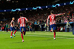 Thomas Lemar (L) and Alvaro Morata (R) of Atletico de Madrid celebrate goal during the UEFA Europa League match between Atletico de Madrid and Bayer 04 Leverkusen at Wanda Metropolitano Stadium in Madrid, Spain. October 22, 2019. (ALTERPHOTOS/A. Perez Meca)