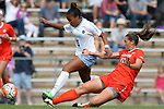 25 October 2015: North Carolina's Maya Worth (5) and Clemson's Jenna Weston (20). The University of North Carolina Tar Heels hosted the Clemson University Tigers at Fetzer Field in Chapel Hill, NC in a 2015 NCAA Division I Women's Soccer game. UNC won the game 1-0.