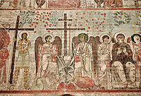 "Pictures & imagse of the interior frescoes depicting the Assumption of the Virgin in the Timotesubani medieval Orthodox monastery Church of the Holy Dormition (Assumption), dedcated to the Virgin Mary, 1184-1213, Samtskhe-Javakheti region, Georgia (country).<br /> <br /> Built during the reigh of Queen Tamar during the ""Golden Age of Georgia"", Timotesubani Church of the Holy Dormition is one of the most important examples of medieval Georgian architecture and art. <br /> <br /> The interior frescoes of date from the 11th - 13th century so the Timotesubani church of the Dormition is a treasure trove of medieval Georgian art created during the reign of Queen Tamar. The fresco murals have been rescued and preserved by the Global Fund of Cultural Heritage."