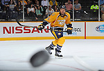 NASHVILLE, TN - OCTOBER 12:  Defenceman Shea Weber #6 of the Nashville Predators watches the puck during a game against the New York Islanders at Bridgestone Arena on October 12, 2013 in Nashville, Tennessee.  (Photo by Frederick Breedon/Getty Images)