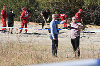 Pictured: South Yorkshire police officers with special forensics police officers in the background searching a field in Kos, Greece. Tuesday 27 September 2016<br /> Re: Police teams searching for missing toddler Ben Needham on the Greek island of Kos have said they are &quot;optimistic&quot; about new excavation work.<br /> Ben, from Sheffield, was 21 months old when he disappeared on 24 July 1991 during a family holiday.<br /> Digging has begun at a new site after a fresh line of inquiry suggested he could have been crushed by a digger.<br /> South Yorkshire Police (SYP) said it continued to keep an &quot;open mind&quot; about what happened to Ben.