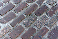 Close-up of cobblestones on a cobblestone street in Old Montreal, Quebec, Canada