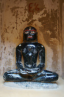 scupture of thirthankar, holy Jain teacher in in Chantraprabhu Jain temple, Fort Jaisalmer, Rajastan, India