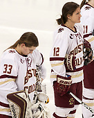 Katie Burt (BC - 33), Kenzie Kent (BC - 12) - The number one seeded Boston College Eagles defeated the eight seeded Merrimack College Warriors 1-0 to sweep their Hockey East quarterfinal series on Friday, February 24, 2017, at Kelley Rink in Conte Forum in Chestnut Hill, Massachusetts.The number one seeded Boston College Eagles defeated the eight seeded Merrimack College Warriors 1-0 to sweep their Hockey East quarterfinal series on Friday, February 24, 2017, at Kelley Rink in Conte Forum in Chestnut Hill, Massachusetts.