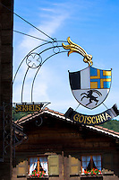 Sign for Gasthof Gotschna restaurant in Serneus near Klosters in Graubunden region, Switzerland