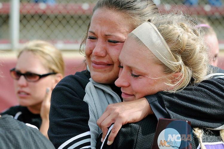 19 MAY 2008:   Diana Frisby(left) (6) and Amanda LeBeau of the University of Wisconsin-Whitewater console each other after losing the Division III Women's Softball Championship held at James I. Moyer Sports Complex in Salem, VA.  The University of Wisconsin-Eau Claire defeated the University of Wisconsin-Whitewater 4-3 for the national title. Don Petersen/NCAA Photos