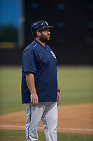 AZL Padres 2 manager Aaron Levin (56) during an Arizona League game against the AZL Padres 1 at Peoria Sports Complex on July 14, 2018 in Peoria, Arizona. The AZL Padres 1 defeated the AZL Padres 2 4-0. (Zachary Lucy/Four Seam Images)
