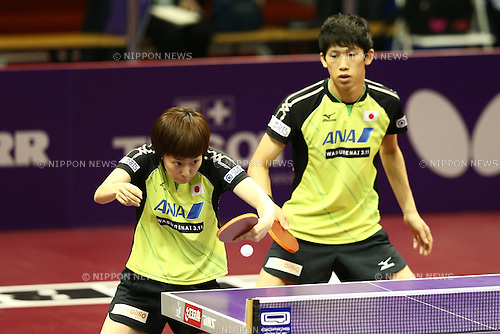 Maharu Yoshimura & Kasumi Ishikawa (JPN), APRIL 27, 2015 - Table Tennis : 2015 World Table Tennis Championships Mixed doubles 1st round match at Suzhou International Expo Centre, Suzhou, China. (Photo by Shingo Ito/AFLO SPORT)