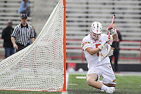 College Park, MD - February 18, 2017: Maryland Terrapins Dan Morris (8) tries to make a safe during game between High Point and Maryland at  Capital One Field at Maryland Stadium in College Park, MD.  (Photo by Elliott Brown/Media Images International)