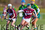 Julianne O'Keeffe Kerry in action against Laura Collins Westmeath in the 2019 Camogie League Division 2 at John Mitchells GAA grounds in Tralee, on Sunday.