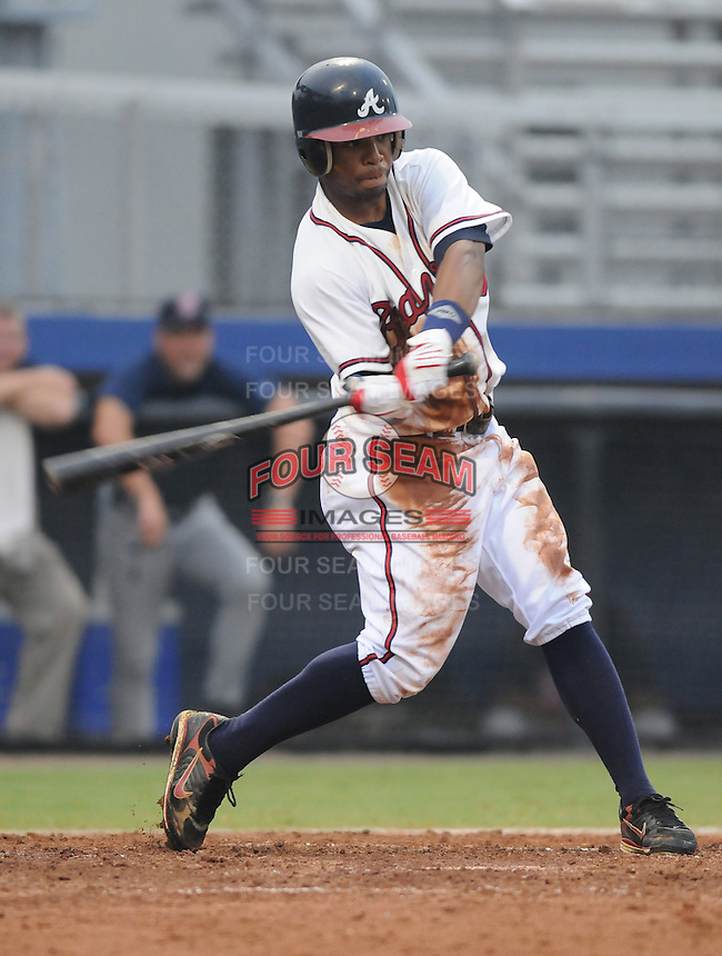 July 15, 2009: Outfielder L.V. Ware (7) of the Danville Braves, rookie Appalachian League affiliate of the Atlanta Braves, in a game at Dan Daniel Memorial Park in Danville, Va. Photo by:  Tom Priddy/Four Seam Images