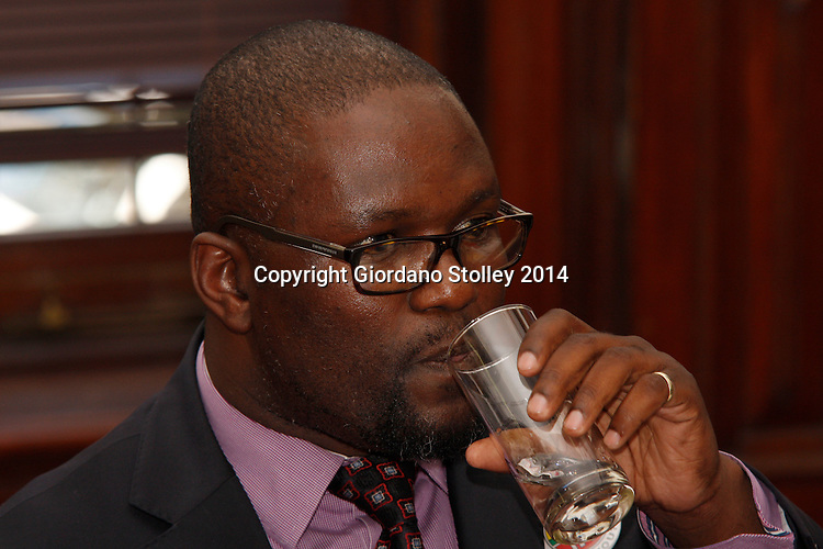DURBAN - 20 January 2014 - The IFP's deputy president Mzamo Buthelezi has a drink of water after reading a statement at a joint press conference where EFF leader Julius Malema apologised to IFP leader Mangosuthu Buthelezi for remarks made when he was ANC Youth League president. Picture: Allied Picture Press/APP