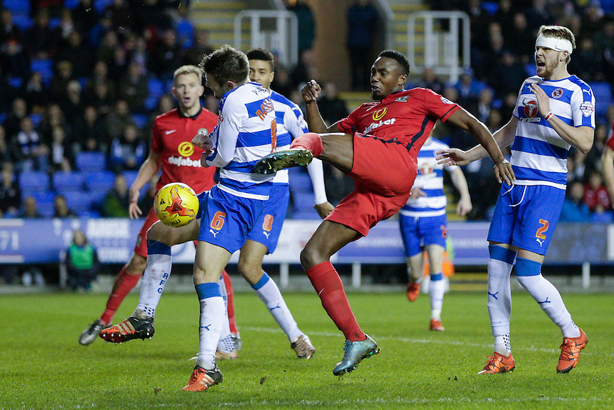 Blackburn Rovers' Bengadli-Fode Koita has a shot on goal blocked by Reading's Oliver Norwood<br /> <br /> Photographer Craig Mercer/CameraSport<br /> <br /> Football - The Football League Sky Bet Championship - Reading v Blackburn Rovers - Sunday 20th December 2015 - Madejski stadium - Reading<br /> <br /> &copy; CameraSport - 43 Linden Ave. Countesthorpe. Leicester. England. LE8 5PG - Tel: +44 (0) 116 277 4147 - admin@camerasport.com - www.camerasport.com