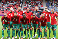 Men's Olympic Football match Honduras v Morocco on 26.7.12...Moroccan team, during the Honduras v Morocco Men's Olympic Football match at Hampden Park, Glasgow..........