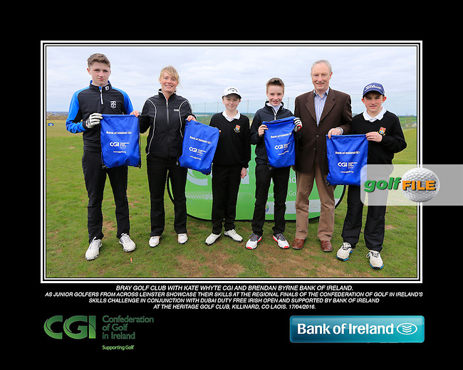 Bray Golf Club boys With Kate Wright CGI and Brendan Byrne Bank of Ireland.<br /> Junior golfers from across Leinster practicing their skills at the regional finals of the Dubai Duty Free Irish Open Skills Challenge supported by Bank of Ireland at the Heritage Golf Club, Killinard, Co Laois. 2/04/2016.<br /> Picture: Golffile | Fran Caffrey<br /> <br /> <br /> All photo usage must carry mandatory copyright credit (&copy; Golffile | Fran Caffrey)