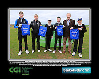 Bray Golf Club boys With Kate Wright CGI and Brendan Byrne Bank of Ireland.<br /> Junior golfers from across Leinster practicing their skills at the regional finals of the Dubai Duty Free Irish Open Skills Challenge supported by Bank of Ireland at the Heritage Golf Club, Killinard, Co Laois. 2/04/2016.<br /> Picture: Golffile | Fran Caffrey<br /> <br /> <br /> All photo usage must carry mandatory copyright credit (© Golffile | Fran Caffrey)