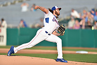 Tennessee Smokies starting pitcher Zach Hedges (27) delivers a pitch during a game against the Mississippi Braves at Smokies Stadium on April 12, 2017 in Kodak, Tennessee. The Braves defeated the Smokies 6-2. (Tony Farlow/Four Seam Images)