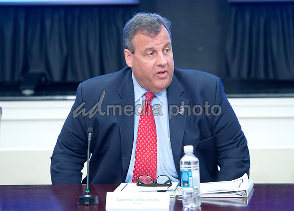 Governor Chris Christie (Republican of New Jersey), Chairman, The President's Commission on Combating Drug Addiction and the Opioid Crisis, makes opening remarks in the commission's first meeting in the Eisenhower Executive Office Building in Washington, DC on Friday, June 16, 2017. PhotoCredit: Ron Sachs/CNP/AdMedia