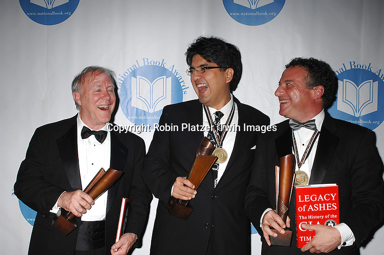 The Winners Robert Hass, Sherman Alexie, and Tim Weiner ..at The National Book Awards on November 14, 2007 at ..the Marriott Marquis Hotel in New York, The event was hosted by Fran Lebowitz...Robin Platzer, Twin Images......
