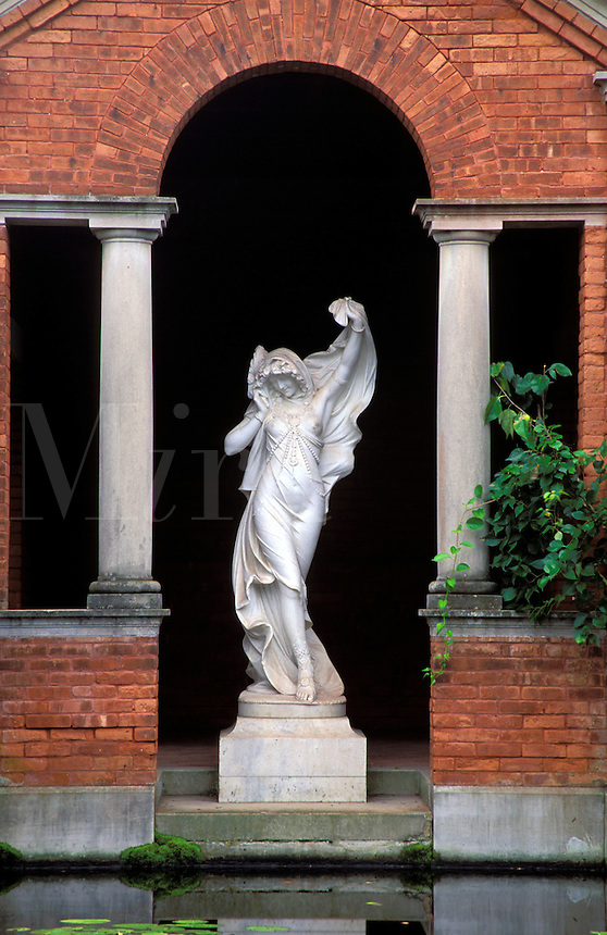 Statue  standing in brick archway, Vanderbilt Mansion National Historic Site, Hyde Park, Dutchess County, New Yor