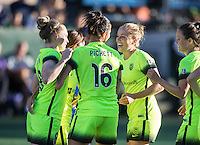 Seattle, WA - Saturday July 23, 2016: Kim Little celebrates scoring, Carson Pickett, Elli Reed, Lauren Barnes during a regular season National Women's Soccer League (NWSL) match between the Seattle Reign FC and the Orlando Pride at Memorial Stadium.