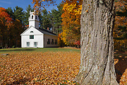 Congregational Society Meeting House in Bradford, New Hampshire USA during the autumn months.