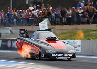 Jul. 18, 2014; Morrison, CO, USA; NHRA funny car driver Todd Simpson during qualifying for the Mile High Nationals at Bandimere Speedway. Mandatory Credit: Mark J. Rebilas-