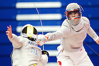 27 FEB 2011 - LONDON, GBR - China's Zhu Min during fencing's  England Cup team sabre tournment at the National Sports Centre at Crystal Palace (PHOTO (C) NIGEL FARROW)