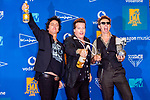 Billie Joe Armstrong, Tre Cool and Mike Dirnt from Green Day in the Winners Room during the MTV European Music Awards 2019 (MTV EMA's) at the FIBES Conference and Exhibition Centre in Seville, Andalusia, Spain.